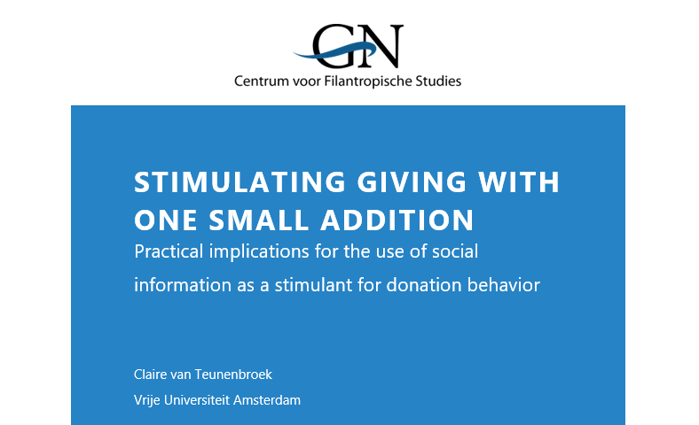 Stimulating giving with one small addition